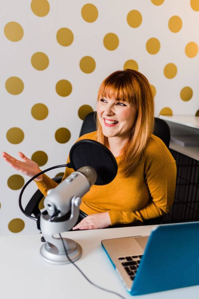 Jessica Lorimer recording a Selling To Corporates ® Podcast